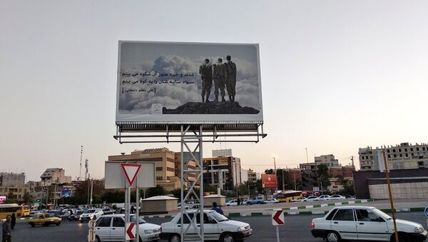A billboard in Shiraz, Iran, purporting to show Iranian soldiers from the Iran-Iraq War, but actually showing IDF soldiers - Sputnik International