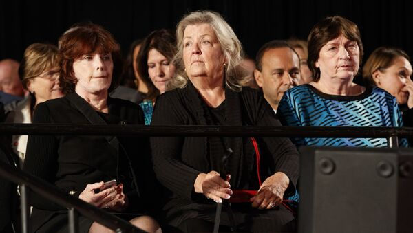 Kathy Shelton, right, Juanita Broaddrick, center, and Kathleen Willey arrive for the second presidential debate between Republican presidential candidate Donald Trump and Democratic presidential candidate Hillary Clinton at Washington University, Sunday, Oct. 9, 2016, in St. Louis. - Sputnik International