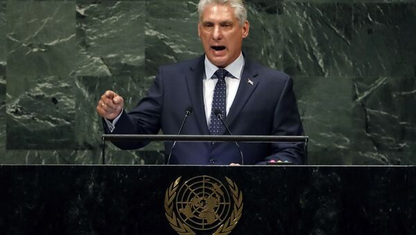 Cuba's President of the Council of Ministers Miguel Díaz-Canel Bermudez addresses the 73rd session of the United Nations General Assembly, at U.N. headquarters, Wednesday, Sept. 26, 2018. - Sputnik International