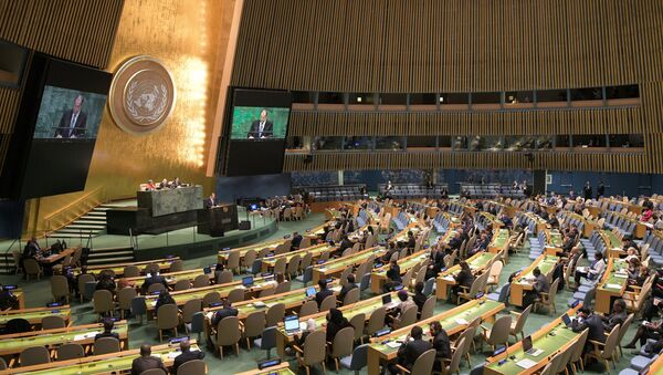 Russian Foreign Minister Sergei Lavrov at the UN General Assembly. - Sputnik International