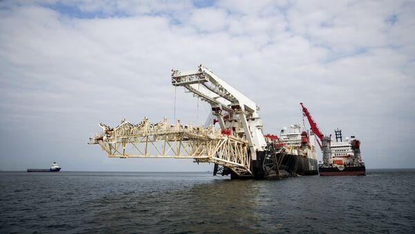 Nord Stream 2 pipeline construction underway in Finnish waters in the Baltic Sea. - Sputnik International