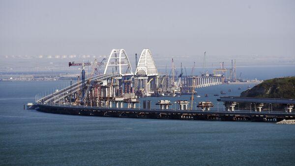 A view of the new bridge across the Kerch Strait linking Russia's Taman Peninsula with Crimea, after regular traffic began, in Kerch, Crimea, Wednesday, May 16, 2018. - Sputnik International