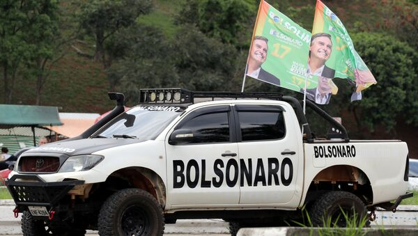 A supporter of presidential candidate Jair Bolsonaro attends a demonstration at Pacaembu Stadium in Sao Paulo, Brazil September 29, 2018. Picture taken September 29, 2018. (File Photo) - Sputnik International