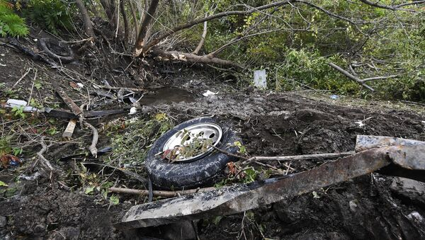 Debris scatters an area Sunday, Oct. 7, 2018, at the site of yesterday's fatal crash Schoharie, N.Y. - Sputnik International