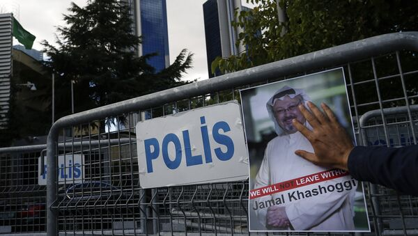 A poster of missing Saudi writer Jamal Khashoggi, on a barrier that blocks the road leading to the Saudi Arabia consulate in Istanbul. - Sputnik International