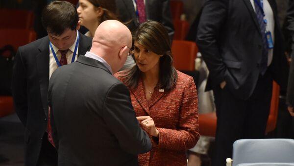 US ambassador to the United Nations, Nikki Haley talks with the Russian Ambassador to the United Nations Vassily Nebenzia - Sputnik International