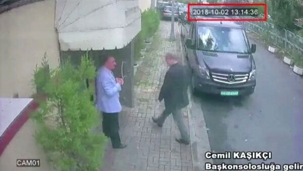 A still image taken from CCTV video and obtained by TRT World claims to show Saudi journalist Jamal Khashoggi as he arrives at Saudi Arabia's consulate in Istanbul, Turkey Oct. 2, 2018. - Sputnik International