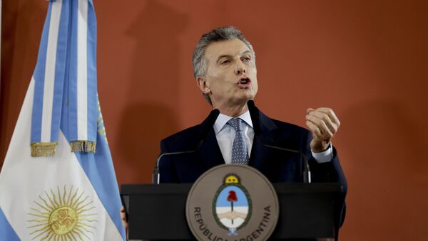 Argentina's President Mauricio Macri speaks from the government house in Buenos Aires, Argentina Thursday, Sept. 27, 2018. - Sputnik International