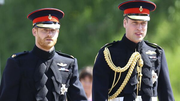 Britain's Prince Harry, left, and best man Prince William arrive for the wedding ceremony at St. George's Chapel in Windsor Castle in Windsor, near London, England, Saturday, May 19, 2018.  - Sputnik International