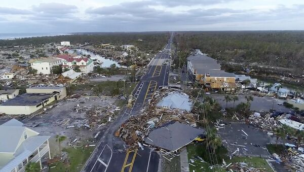 In this image made from video and provided by SevereStudios.com, damage from Hurricane Michael is seen in Mexico Beach, Fla. on Thursday, Oct. 11, 2018. Search-and-rescue teams fanned out across the Florida Panhandle to reach trapped people in Michael's wake Thursday as daylight yielded scenes of rows upon rows of houses smashed to pieces by the third-most powerful hurricane on record to hit the continental U.S. - Sputnik International