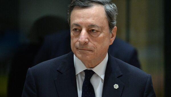 European Central Bank President Mario Draghi is pictured during a EU summit in Brussels - Sputnik International