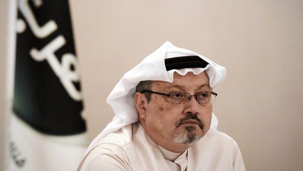 In this file photo taken on December 15, 2014, general manager of Alarab TV, Jamal Khashoggi, looks on during a press conference in the Bahraini capital Manama. - Sputnik International