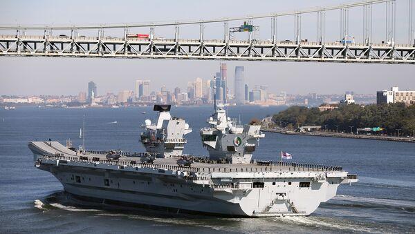 Britain's new aircraft carrier, HMS Queen Elizabeth, arrives in New York, US, October 19, 2018 - Sputnik International