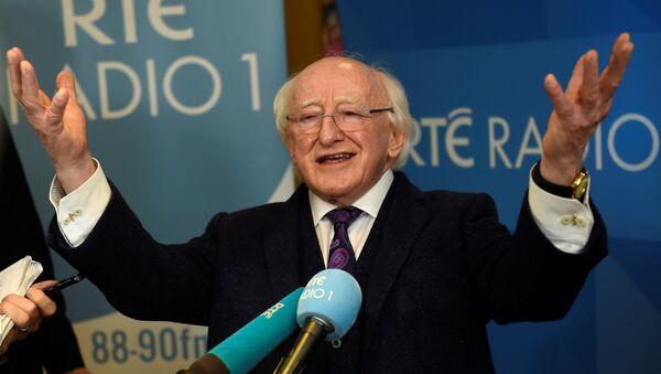 Ireland's presidential candidate President Michael D. Higgins speaks to media after a presidential debate on RTÉ Radio 1 in Dublin - Sputnik International