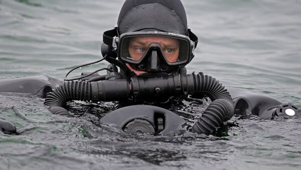 A Russian military diver from the anti-sabotage unit of the Baltic Fleet. - Sputnik International
