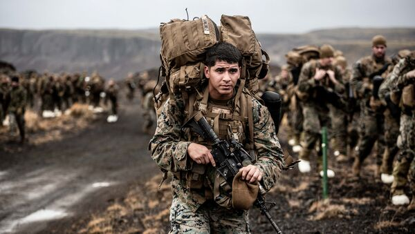 U.S. Marines with the 24th Marine Expeditionary Unit (MEU) conduct cold weather training during NATO's Exercise Trident Juncture 2018 in Iceland October 19, 2018. Picture taken October 19, 2018 - Sputnik International