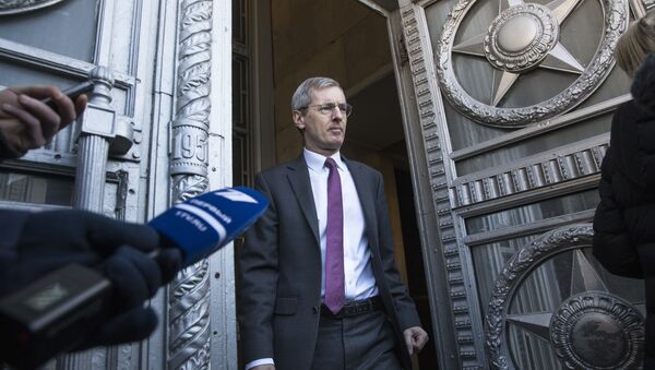 British ambassador to Russia, Laurie Bristow, leaves after a meeting at the Russian foreign ministry building in Moscow, Russia, Saturday, March 17, 2018 - Sputnik International