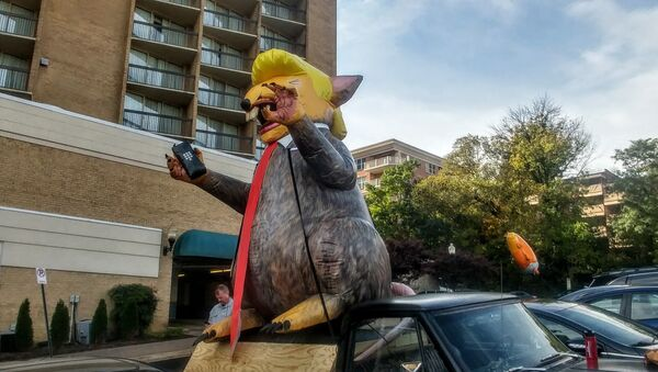 An inflatable figure of a rat made to look like President Donald Trump was left outside a press conference highlighting sexual abuse accusations against special counsel Robert Mueller. - Sputnik International