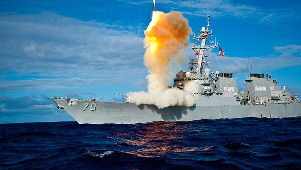 USS Hopper (DDG 70) launches a Standard Missile-3 - Sputnik International
