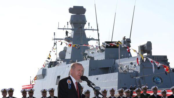 Turkish President Erdogan speaks during a ceremony at a shipyard - Sputnik International
