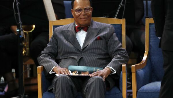 Louis Farrakhan attends the funeral service for Aretha Franklin at Greater Grace Temple, Friday, Aug. 31, 2018, in Detroit. Franklin died Aug. 16, 2018 of pancreatic cancer at the age of 76 - Sputnik International