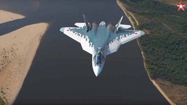 Su-57 test flight over Astrakhan, Russia. - Sputnik International