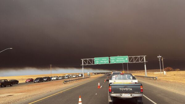 Smoke from the Camp Fire, burning in the Feather River Canyon near Paradise, Calif., darkens the sky as seen from Highway 99 near Marysville, Calif., Thursday, Nov. 8, 2018. - Sputnik International