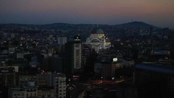 Belgrade panorama with one of the main feature this capital city, Catedral of Saint Sava. It represents an Orthodox church, the largest in the Balkans. - Sputnik International