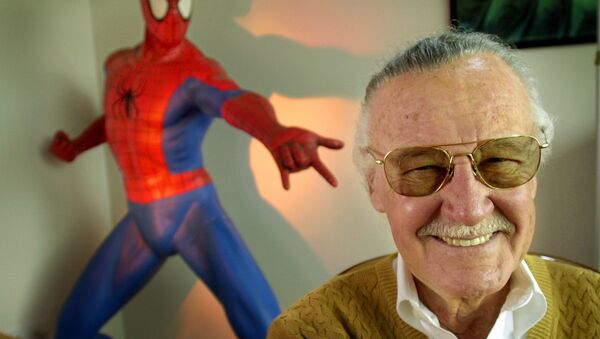 Stan Lee, 79, creator of comic-book franchises such as Spider-Man, The Incredible Hulk and X-Men, smiles during a photo session April 16, 2002, in his office in Santa Monica, Calif. Lee, who has a minor role in the upcoming Sony Pictures film Spider-Man, opening in May, has weathered financial trouble in recent years.  - Sputnik International