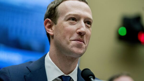 In this April 11, 2018 file photo, Facebook CEO Mark Zuckerberg pauses while testifying on Capitol Hill in Washington - Sputnik International