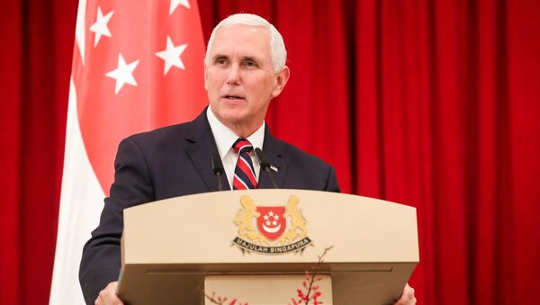 U.S. Vice President Mike Pence speaks at a joint press conference at the Istana or Presidential Palace in Singapore, November 16, 2018 - Sputnik International