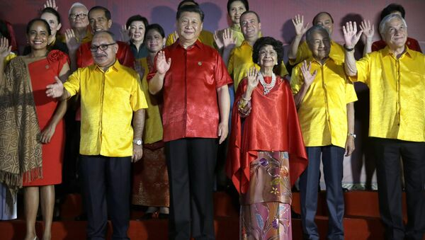 Leaders and their spouses including, from second left, Papua New Guinea's Prime Minister Peter O'Neill, Chinese President Xi Jinping, Malaysian Prime Minister Mahathir Mohamad and his wife Siti Hasmah Mohamad Ali, and Chile's President Sebastian Pinera wave during a family photo with leaders and their spouses during the APEC Economic Leaders Meeting summit in Port Moresby, Papua New Guinea, Saturday, Nov. 17, 2018 - Sputnik International
