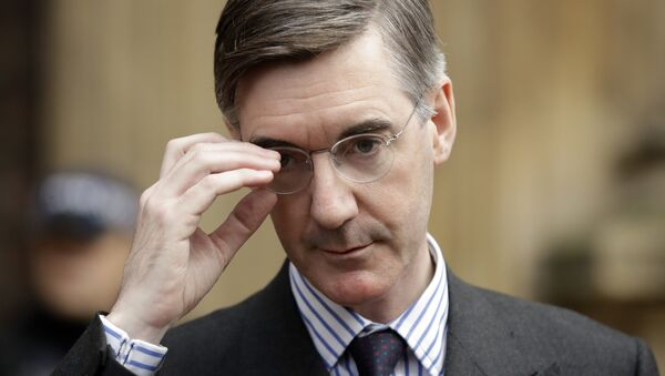 Pro-Brexit, Conservative lawmaker Jacob Rees-Mogg adjusts his glasses as he speaks to the media outside the Houses of Parliament in London, Thursday, Nov. 15, 2018. - Sputnik International