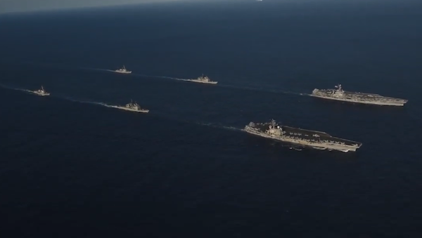 US Navy aircraft carriers John C. Stennis and Ronald Reagan drill with their battle groups in the Philippine Sea - Sputnik International