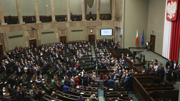 Poland's opposition lawmakers protesting at the plenary hall in parliament building. in Warsaw, Poland, January 11, 2017.  - Sputnik International