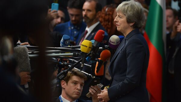 Britain's Prime Minister Theresa May arrives at the European Council meeting, in Brussels, Belgium, October 17, 2018. - Sputnik International