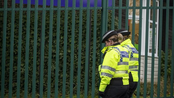 This Wednesday, Nov. 28, 2018 photo shows Police Community Support Officers walks outside Almondbury Community School in Huddersfield where a 16-year-old boy is to be charged with assault over an attack on a 15-year-old Syrian refugee. - Sputnik International