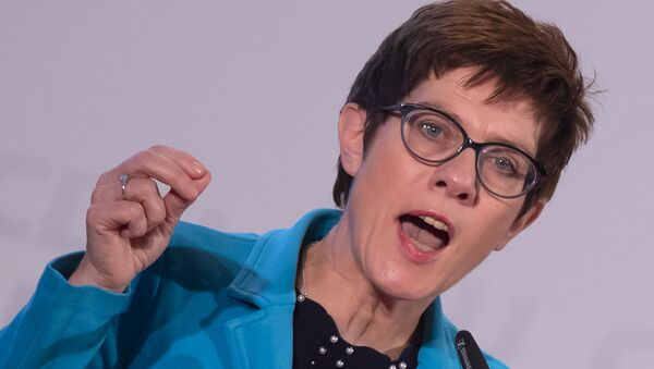 Annegret Kramp-Karrenbauer, General Secretary of the German Christian Democratic Union, gestures during her speech at the CDU regional conference to present her concept as candidate for the CDU chairmanship in Seebach, central Germany, Wednesday, Nov. 21, 2018 - Sputnik International