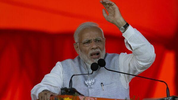 Indian Prime Minister Narendra Modi speaks during an election campaign rally at Mahabubnagar district of Telangana state, India, Tuesday, Nov. 27, 2018. Elections in Telangana state will be held in December - Sputnik International