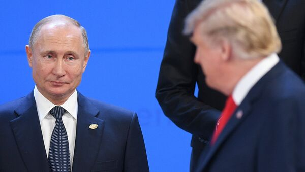 Putin and Trump at the G20 in Buenos Aires, Argentina. - Sputnik International