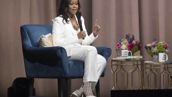 Former first lady Michelle Obama speaks during the Becoming: An Intimate Conversation with Michelle Obama at Barclays Center in Saturday, Dec. 1, 2018, in New York - Sputnik International