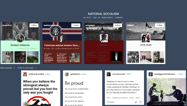 Pro-Nazi images remain on Tumblr after the company banned pornography from its platform. - Sputnik International
