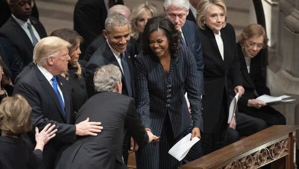 President George W. Bush and wife Laura Bush greets President Donald Trump, first lady Melania Trump, former President Barack Obama, Michelle Obama, former President Bill Clinton, former Secretary of State Hillary Clinton, former President Jimmy Carter, and Rosalynn Carter during a State Funeral for former President George H.W. Bush at the National Cathedral, Wednesday, Dec. 5, 2018, in Washington. - Sputnik International