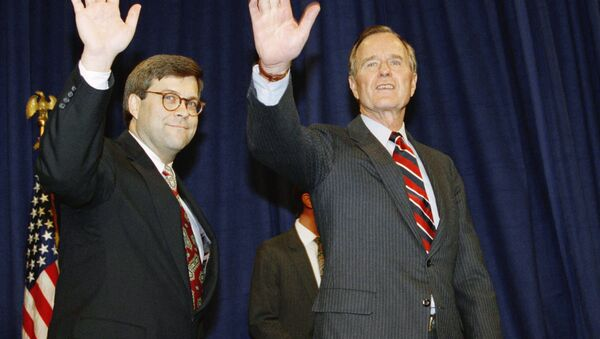 U.S. President George H. Bush, right, and William Barr wave after Barr was sworn in as the new Attorney General of the United States, Tuesday, Nov. 26, 1991 at a Justice Department ceremony in Washington. - Sputnik International