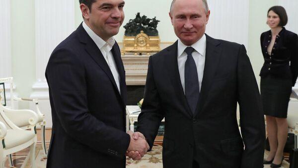 December 7, 2018. Russian President Vladimir Putin and Greek Prime Minister Alexis Tsipras (left) during the meeting. - Sputnik International