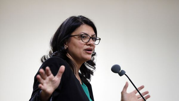 Rashida Tlaib, Democratic candidate for Michigan's 13th Congressional District, speaks at a rally in Dearborn, Mich., Friday, Oct. 26, 2018.  - Sputnik International