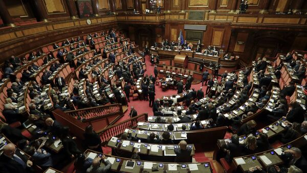 Lawmakers sit during the vote to elect Senate's president, in Rome, Friday, March 23, 2018. Italian lawmakers have formally reconvened parliament following inconclusive March 4 elections without any accord in sight as to the formation of a new government - Sputnik International