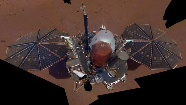 This is NASA InSight's first selfie on Mars. It displays the lander's solar panels and deck. On top of the deck are its science instruments, weather sensor booms and UHF antenna. The selfie was taken on Dec. 6, 2018 - Sputnik International