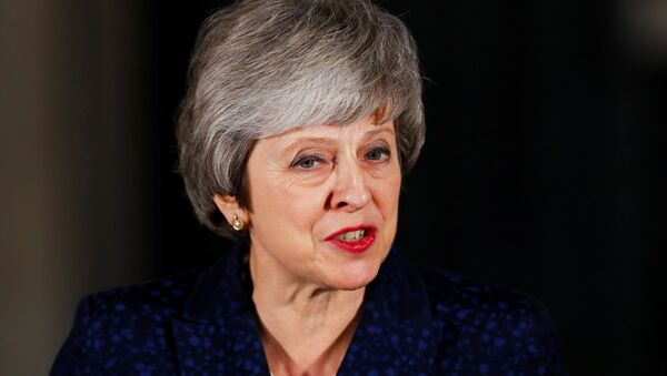 Britain's Prime Minister Theresa May speaks outside 10 Downing Street after a confidence vote by Conservative Party Members of Parliament (MPs), in London, Britain December 12, 2018. - Sputnik International