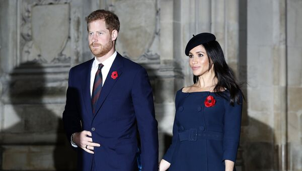 Prince Harry and Meghan, Duchess of Sussex leave Westminster Abbey after attending the Remembrance Sunday ceremony at Westminster Abbey in London, Sunday, Nov. 11, 2018.  - Sputnik International